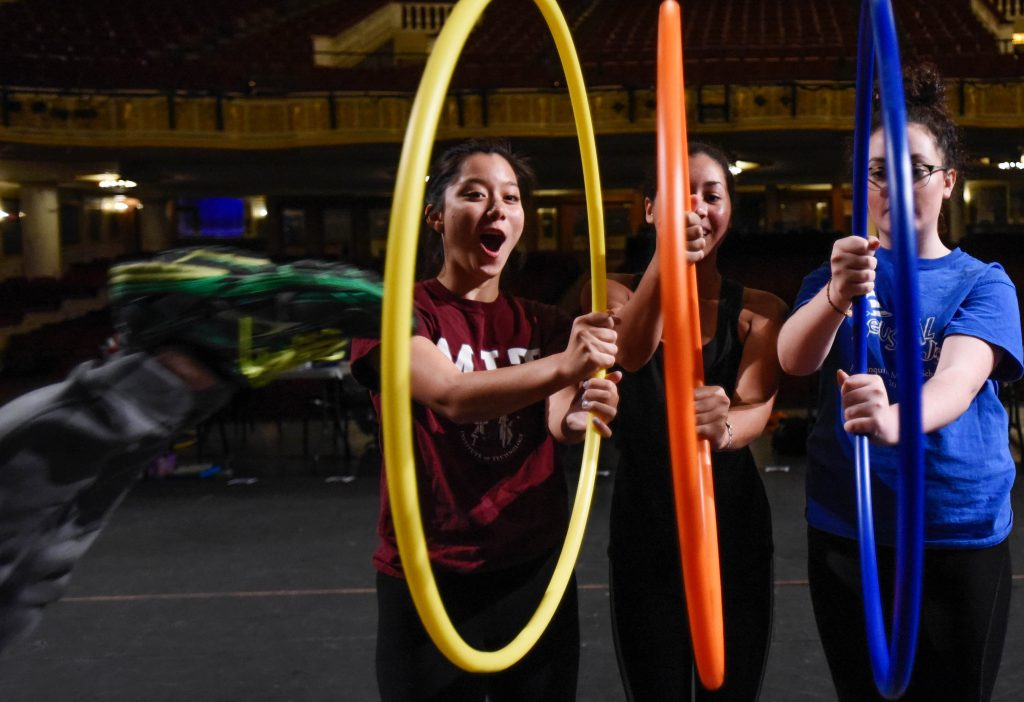 Broadway Camp students learn tumbling and perform partner exercises during their circus workshop at Proctors Thursday, July 13, 2017.