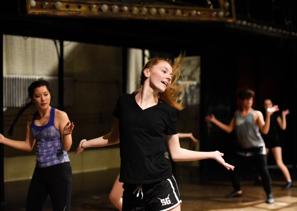 Amy Fuller learns a dance from Cabaret during a Master Class at Proctors Friday, May 12, 2017.
