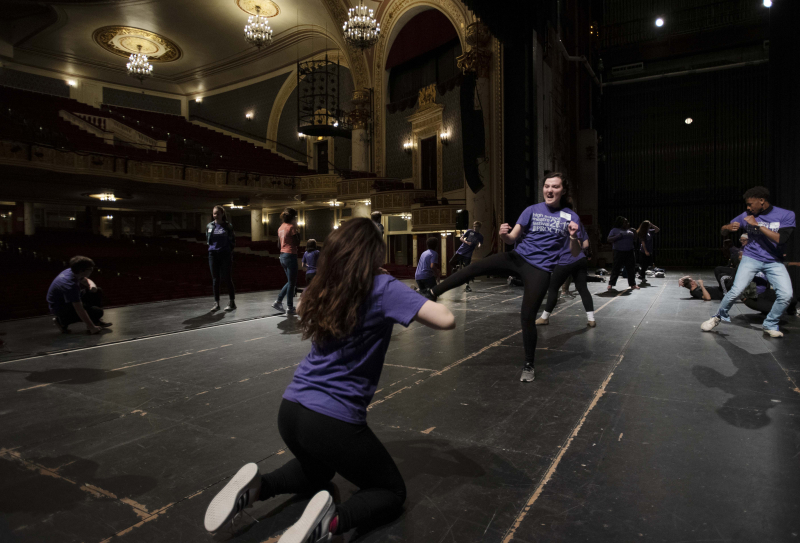 Students practice stage combat in a workshop during the High School Theatre Festival at Proctors Thursday, April 18 2019. Over 250 students from 12 school across the Capital Region came together at Proctors for the 5th annual High School Theatre Festival.