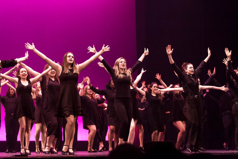 Students from around the Capital Region sing, dance and perform for the 2018 High School Musical Theatre Awards at Proctors Saturday, May 19, 2018. Students from each participating school came together to perform in the opening number.