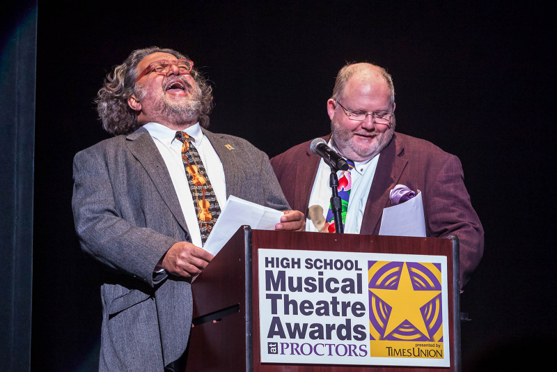 Proctors CEO Philip Morris and senior writer for the Times Union Steve Barnes introduce the participating schools during the 2018 High School Musical Theatre Awards at Proctors Saturday, May 19, 2018.