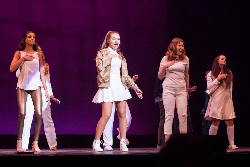 Students from Mayfield High School perform a song from Legally Blonde during the 2018 High School Musical Theatre Awards at Proctors Saturday, May 19, 2018.