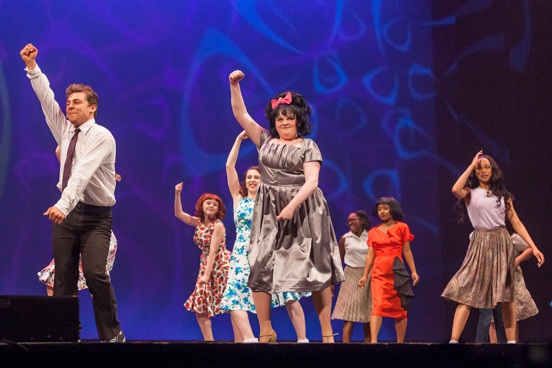 Annabelle Duffy, center, performs with fellow students from Albany High School perform a song from Hairspray during the 2018 High School Musical Theatre Awards at Proctors Saturday, May 19, 2018. Duffy won the award for best actress.
