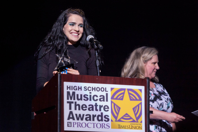 Fallon Zell from Voorheesville High School accepts the award for best supporting actress for her role as Terk in Tarzan during the 2018 High School Musical Theatre Awards at Proctors Saturday, May 19, 2018.