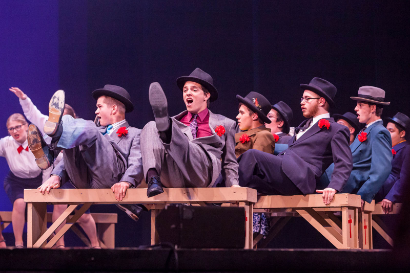 Students from Mohonasen High School perform a song from Guys and Dolls during the 2018 High School Musical Theatre Awards at Proctors Saturday, May 19, 2018.