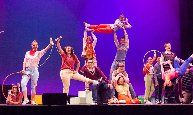 Students from Queensbury High School perform a song from Bye Bye Birdie during the 2018 High School Musical Theatre Awards at Proctors Saturday, May 19, 2018.