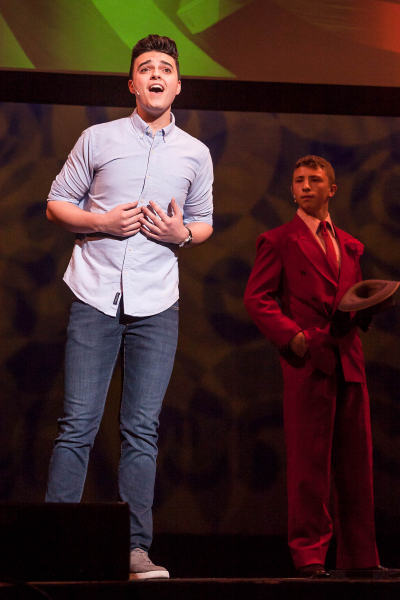 Brandon Sarti performs in the best actor medley during the 2018 High School Musical Theatre Awards at Proctors Saturday, May 19, 2018. Sarti, from South Glens Falls High School, won the award for best actor.