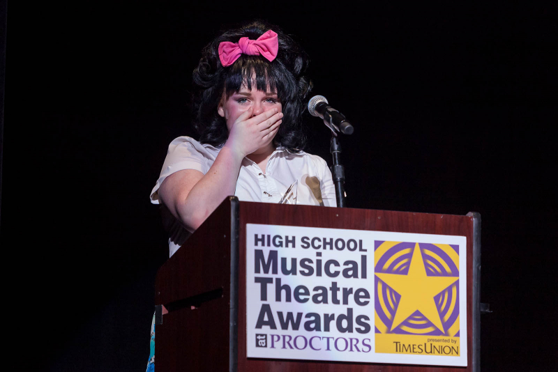 Annabelle Duffy of Albany High School accepts the award for best acctress for her role as Tracy Turnblad in Hairspray during the 2018 High School Musical Theatre Awards at Proctors Saturday, May 19, 2018.