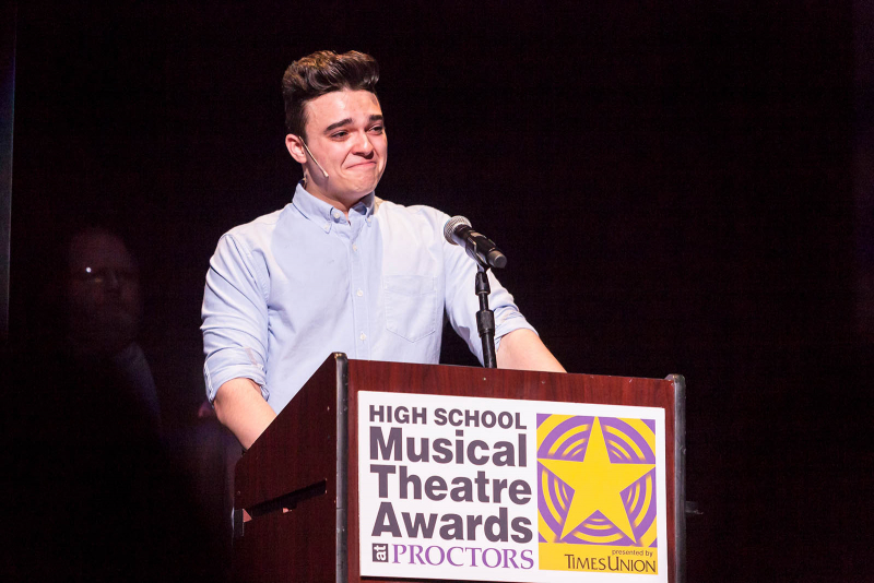 Brandon Sarti from South Glens Falls High School Ghost accepts the award for best actor for his role as as Sam Wheat in Ghost during the 2018 High School Musical Theatre Awards at Proctors Saturday, May 19, 2018.