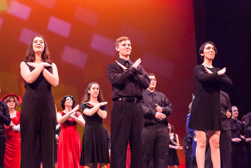 Students from around the Capital Region perform in the closing number during the 2018 High School Musical Theatre Awards at Proctors Saturday, May 19, 2018.