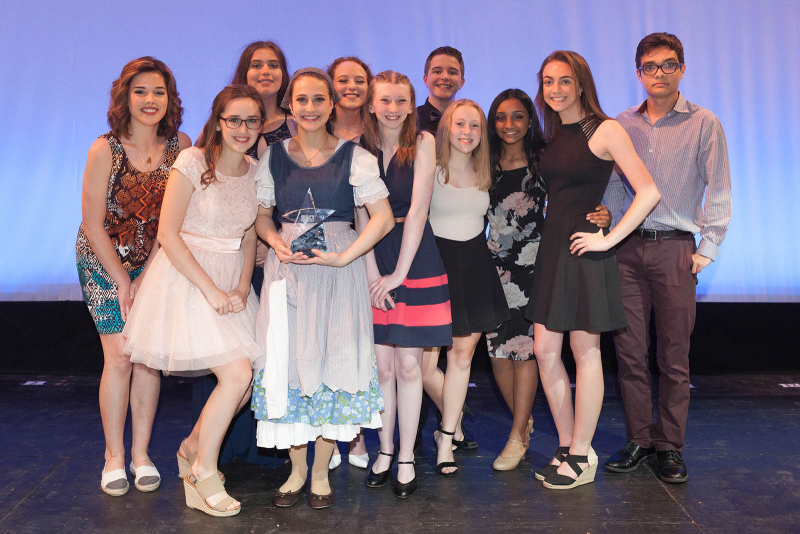 Students pose with their awards after the 2018 High School Musical Theatre Awards at Proctors Saturday, May 19, 2018.