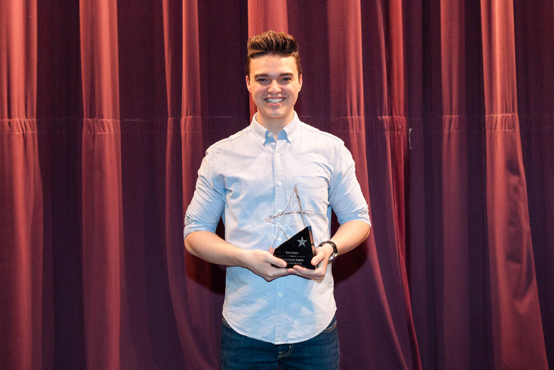 Brandon Sarti from South Glens Falls poses with his award for best actor after the 2018 High School Musical Theatre Awards at Proctors Saturday, May 19, 2018.