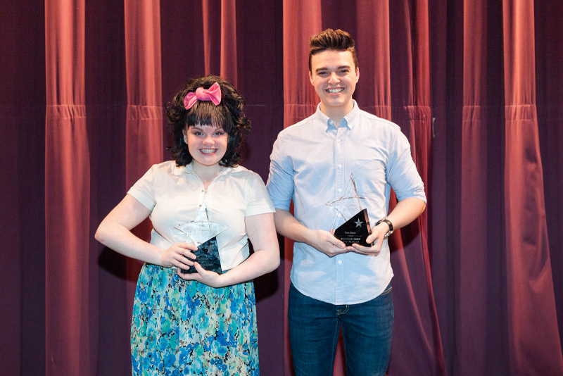 Annabelle Duffy, left, and Brandon Sarti pose with their awards for best actress and best actor after the 2018 High School Musical Theatre Awards at Proctors Saturday, May 19, 2018.