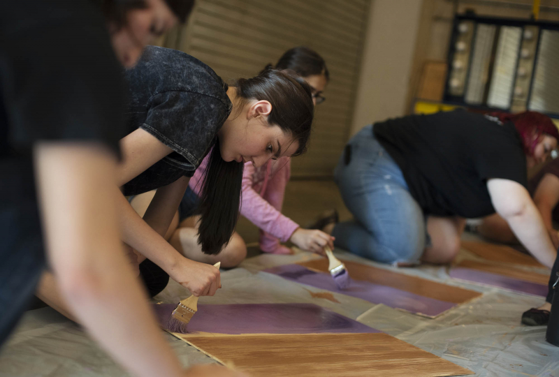 Broadway Camp Production students practice techniques in a scenic painting workshop at Proctors Monday, July 16, 2018.