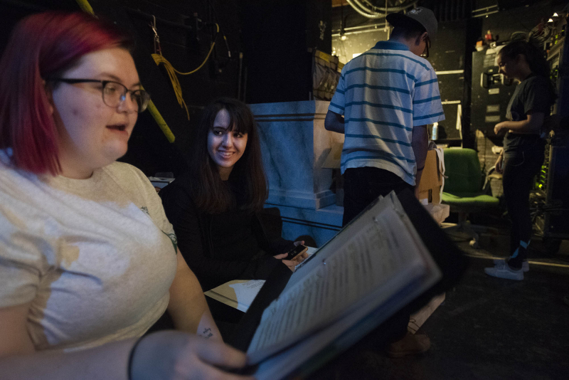 Production students learn stage management during tech week of Broadway Camp on Mainstage at Proctors Monday, July 30, 2018.