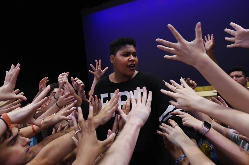 "Broadway Camp students perform ""Dance of the Robe"" from Aida during rehearsal for the production Wednesday, July 25, 2018."