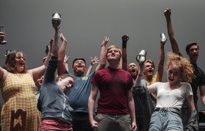 Broadway Camp students rehearse Master of the House from Les Miserables in the GE Theatre Thursday, July 18, 2019.