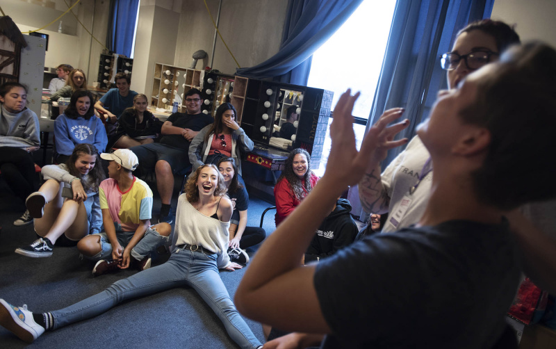 Broadway Camp students laugh during a makeup workshop in the dressing rooms at Proctors Monday, July 22, 2019.