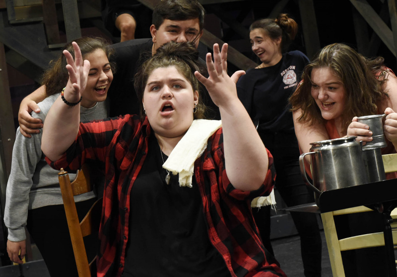 Broadway Camp students rehearse musical numbers from Les Mis on the MainStage at Proctors Monday, July 22, 2019.