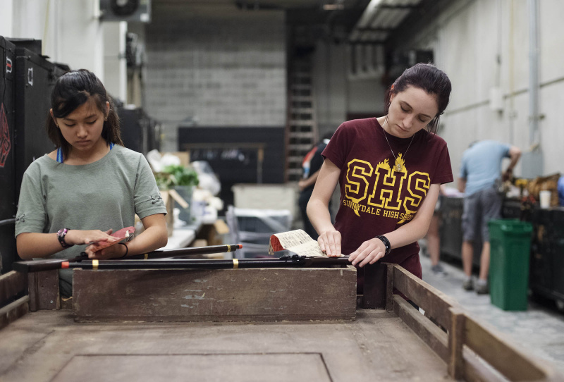 Broadway Camp production students sand prop guns for Les Miserables at Proctors Thursday, July 15, 2019.