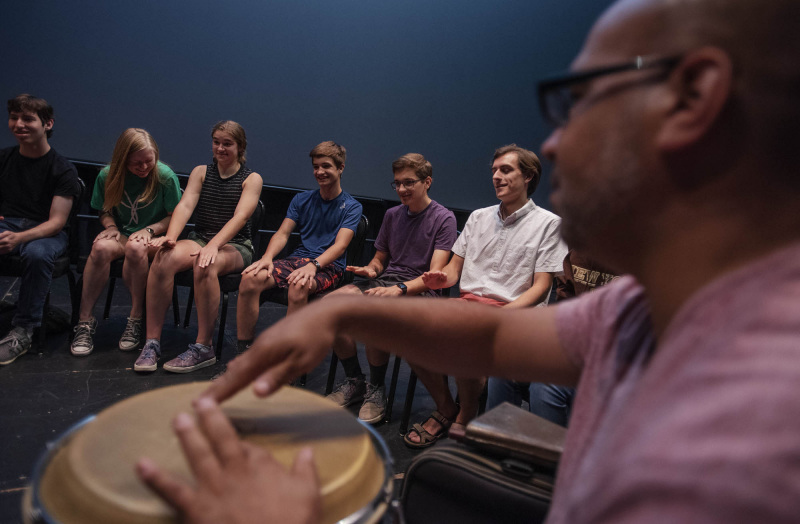 Broadway Camp musician students learn to play different instruments during a percussion workshop with Alex Torres in the GE Theatre Monday, July 29, 2019.