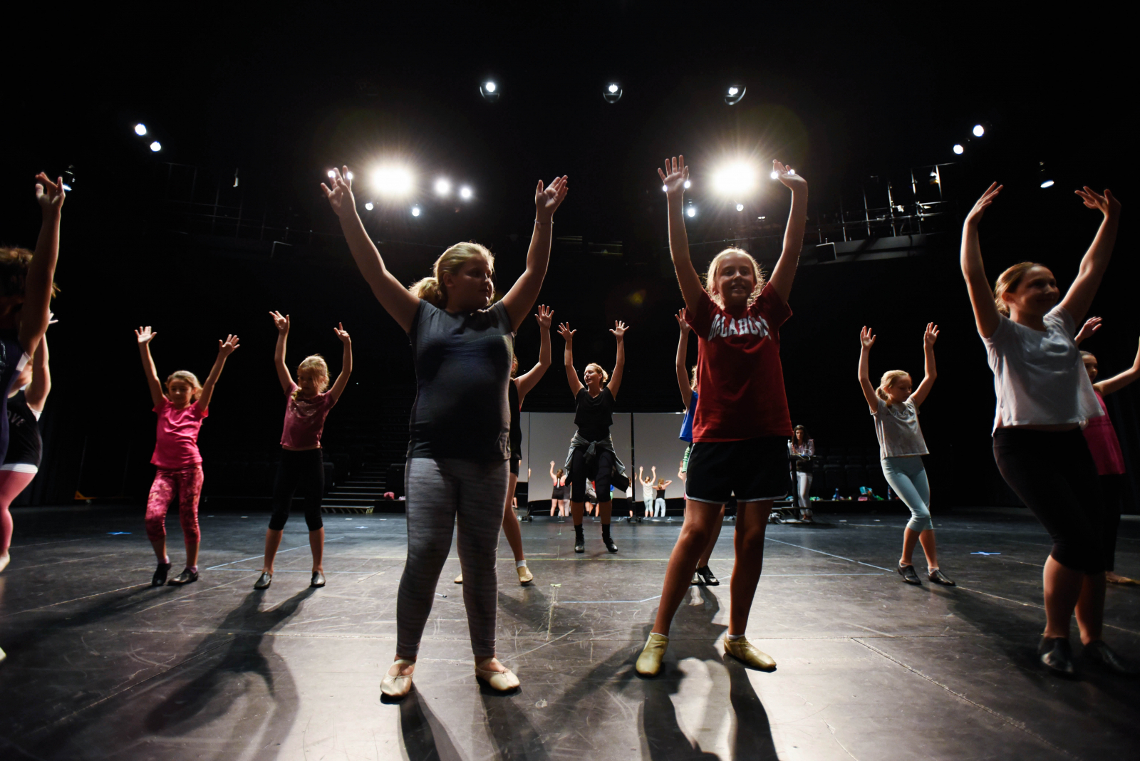 Students from the Broadway Dance Summer Education Program learn choreography in the GE Theatre at Proctors Tuesday, July 25, 2017.