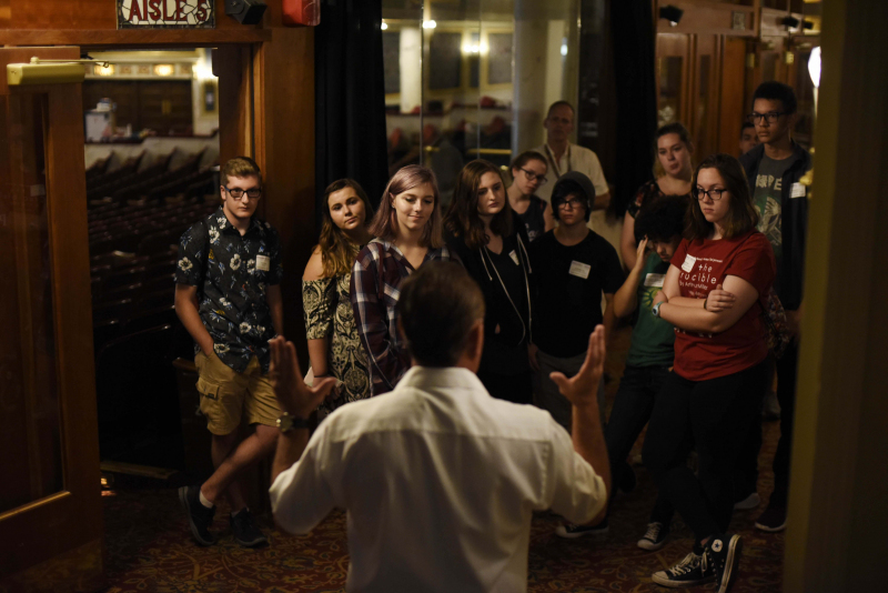 Bob Igoe, IATSE President Local 14, talks with Broadway Tech students about stage hands unions during the first day of the program during The Color Purple teching period at Proctors Tuesday, September 26, 2017.