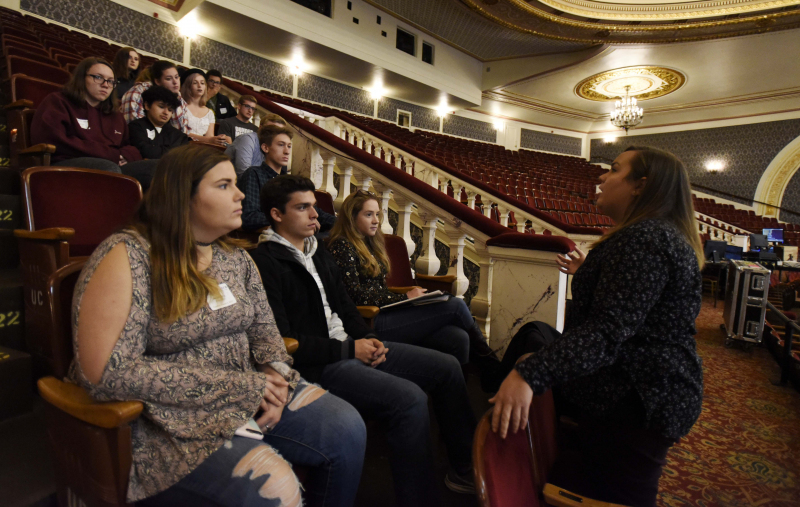 The Color Purple Stage Manager Christine D'Amore talks with Broadway Tech students about her experiences in the industry in the balcony of the Proctors MainStage Tuesday, October 3, 2017. Students in the program spend four days hearing from working professionals as the tech for The Color Purple at Proctors.