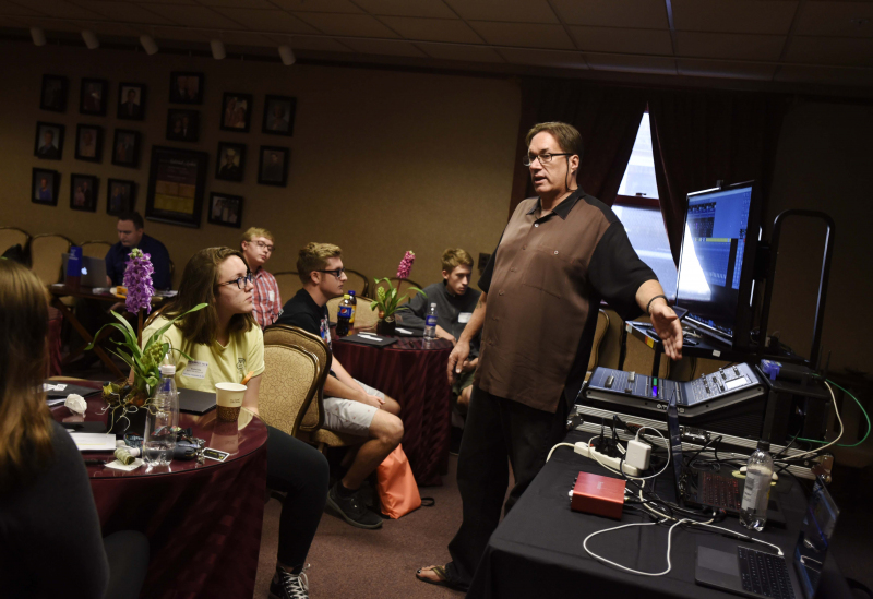 Mark Norfolk, Sound Designer and Engineer, talks with Broadway Tech students in the Guild room at Proctors in Schenectady Thursday, September 28, 2017. Norfolk was one of many presenters in the four-day program, which gives students an inside look at work
