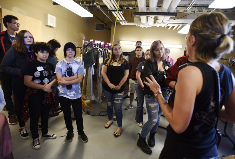 Emma Bogaev, wardrobe supervisor for The Color Purple, talks with Broadway Tech students about dressing the actors for the show at Proctors Thursday, September 28, 2017.