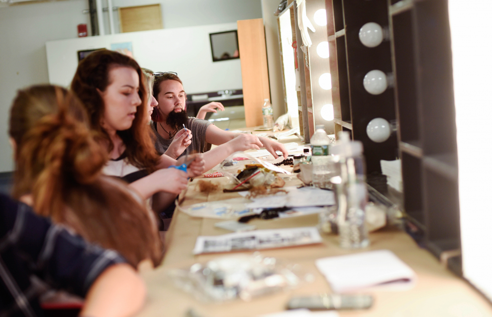 Students from Creating Effects: Advanced Make-Up Techniques learn how to apply facial hair Thursday, August 3, 2017.