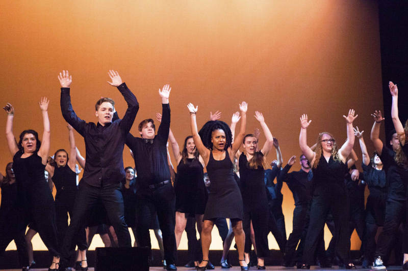 "Students from 30 schools Capital Region schools participate in the 3rd Annual High School Musical Theatre Awards on the MainStage at Proctors Saturday, May 11, 2019. Here, students from all 60 participating school perform the opening number, ""Dancin' on Broadway""."