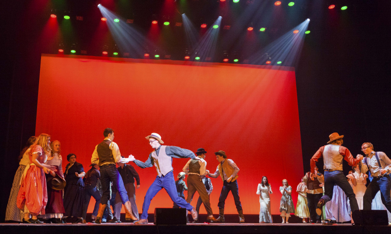 "Students from Warrensburg Jr. Sr. High School perform ""Farmer and the Cowman"" from Rodgers and Hammerstien's Oklahoma during the 3rd Annual High School Musical Theatre Awards on the MainStage at Proctors Saturday, May 11, 2019."