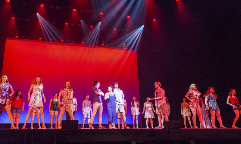 "Students from Scotia-Glenville High School perform ""mamma Mia"" from Mamma Mia! during the 3rd Annual High School Musical Theatre Awards on the MainStage at Proctors Saturday, May 11, 2019."