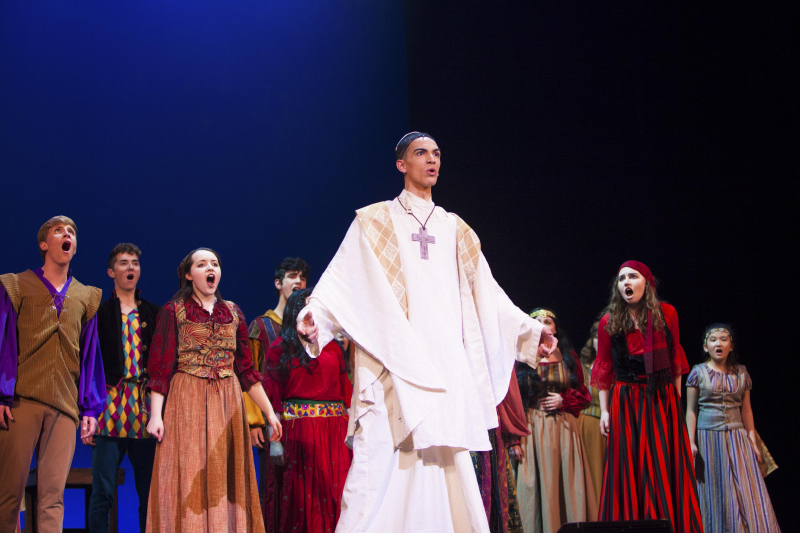 "Students from Hudson Falls High School perform ""The Tavern Song/Esmerelda"" from The Hunchback of Notre Dame during the 3rd Annual High School Musical Theatre Awards on the MainStage at Proctors Saturday, May 11, 2019."