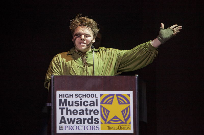 Michael Johnson from Hudson Falls accepts the award for best actor for his role as Quasimodo in Hunchback of Notre Dame.e during the 3rd Annual High School Musical Theatre Awards on the MainStage at Proctors Saturday, May 11, 2019.