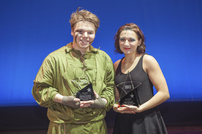 Students from 30 schools Capital Region schools participate in the 3rd Annual High School Musical Theatre Awards on the MainStage at Proctors Saturday, May 11, 2019. Here, winners for best actress and best actor, Signe Naranjo from South Glens Falls and Michael Johnson from Hudson Falls, pose with their awards.