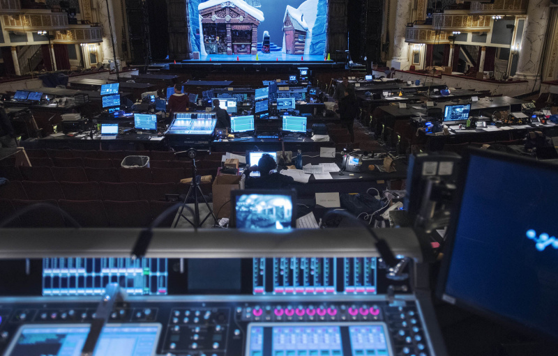 The MainStage house is filled with computers as Frozen creatives prepare for their North American Tour during tech at Proctors Tuesday, October 22, 2019. Photo credit: Kate Penn - Proctors