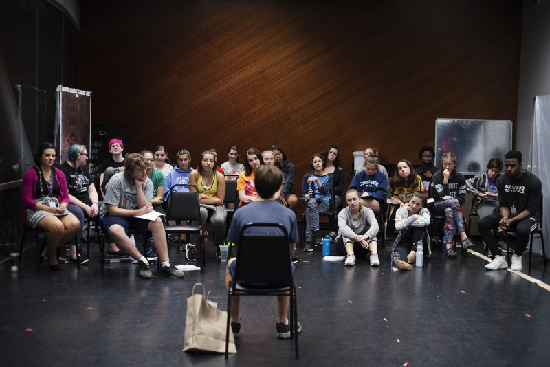 Chaundre Hall-Broomfield, who plays Hercules Mulligan and James Madison in the touring production of Hamilton, works with students in an acting masterclass in a weeklong Hamilton Intensive camp in The Addy dance studio at Proctors Tuesday, August 20, 2019. Photo by Kate Penn - Proctors
