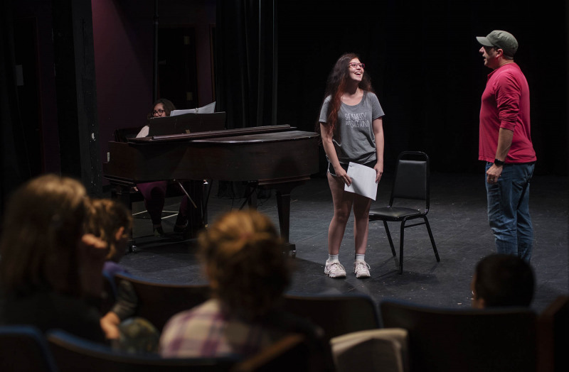 Peter Matthew Smith, who plays King George in the touring production of Hamilton, works with students in an acting masterclass in a weeklong Hamilton Intensive camp in The Addy theatre at Proctors Monday August 19, 2019. Photo by Kate Penn - Proctors