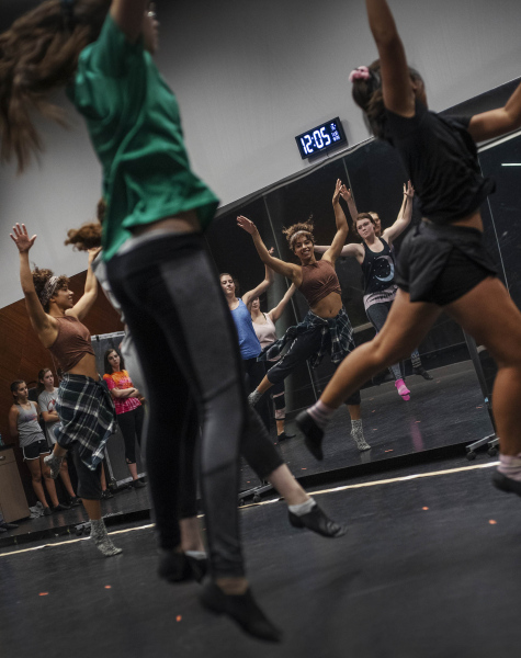 Natalie Kaye Clater, a member of the ensemble in the touring production of Hamilton, works with students in a dance masterclass in a weeklong Hamilton Intensive camp in The Addy dance studio at Proctors Tuesday, August 20, 2019. Photo by Kate Penn - Proctors