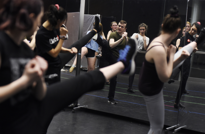 Kenny Francoeur, dance captain from The Book of Mormon, teaches a dance master class in the dance studio of The Addy at Proctors Saturday, May 18, 2019. The School of the Performing Arts' Broadway Master Class Series offers the exclusive opportunity for professional–level training for career development.