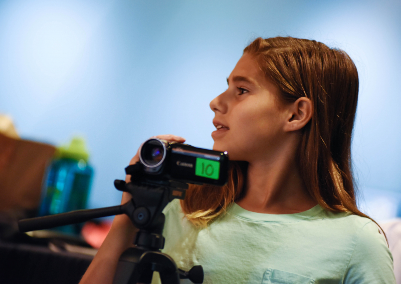 Reel Adventures students edit and shoot short films during the two week summer education program at Proctors Tuesday, August 8, 2017.