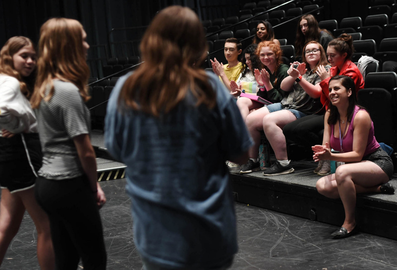 Broadway Camp Jr. students work on their solos at Proctors Tuesday, June 9, 2019.