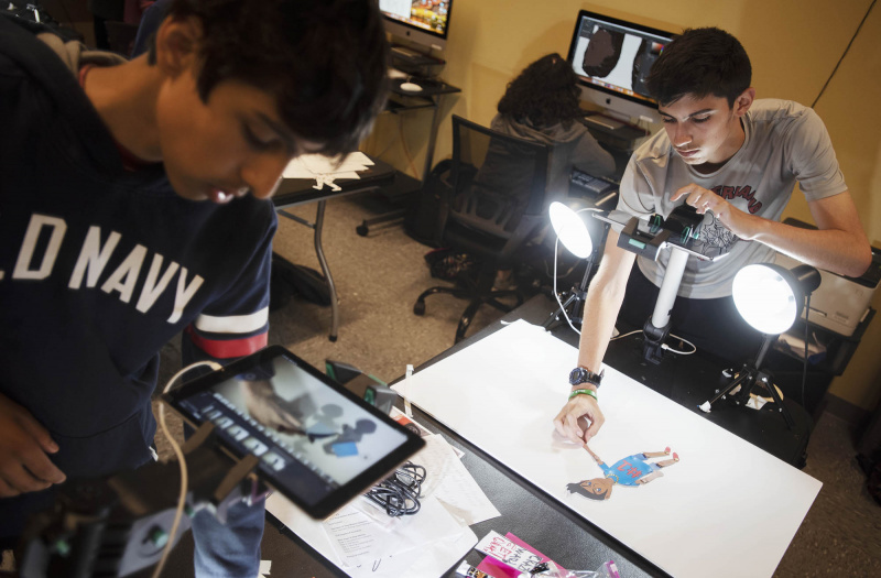 Stop Motion Animation students create short films in a week-long summer camp at Proctors Wednesday, July 10, 2019.