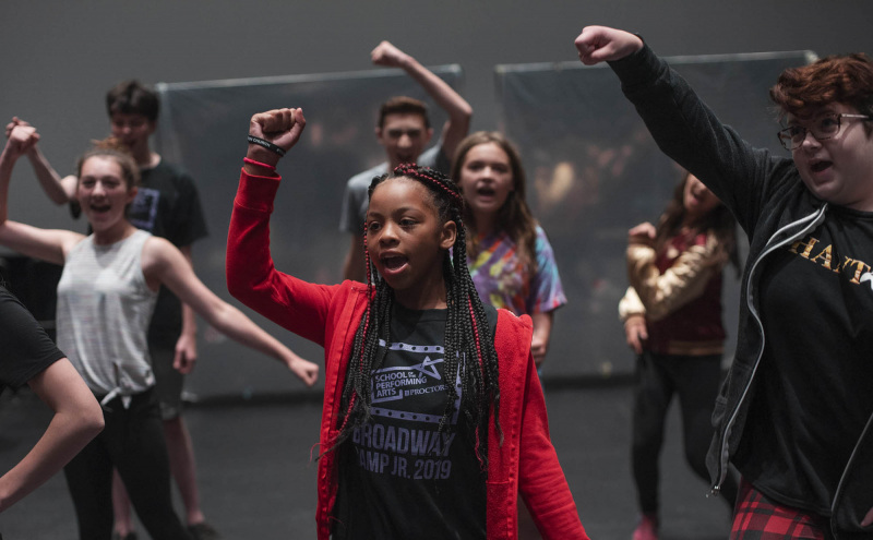 Broadway Camp Jr. students rehearse for their showcase during camp at Proctors Thursday, July 11, 2019.