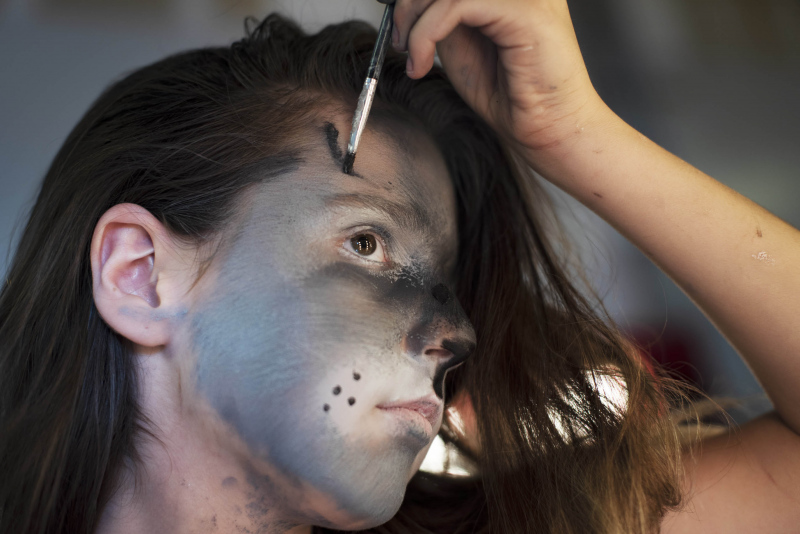 Students in Special FX Makeup paint their faces as animals during summer camp at Proctors Wednesday, July 18, 2019.