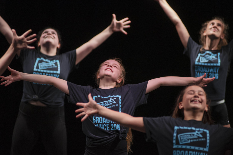 Broadway Dance students perform a showcase for family and friends at the end of camp in the Addy theatre Friday, July 19, 2019.