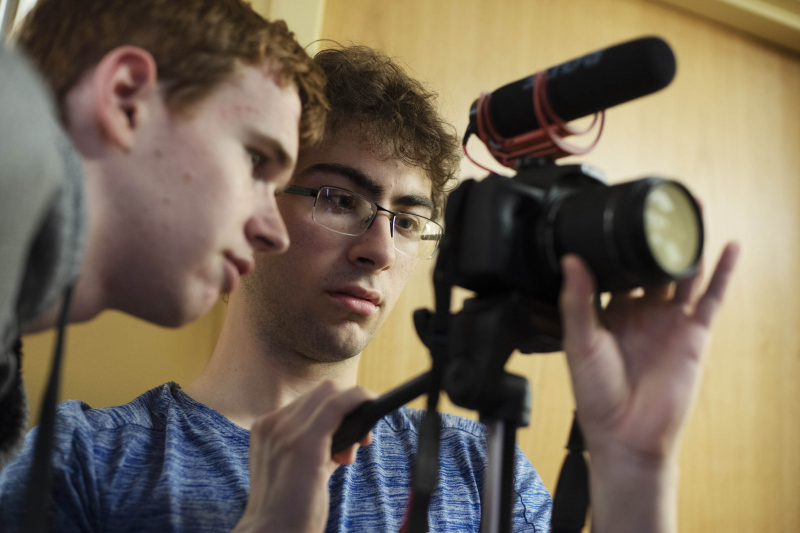 Filmmaking students shoot their creations in the dressing rooms at Proctors Friday, July 19, 2019.