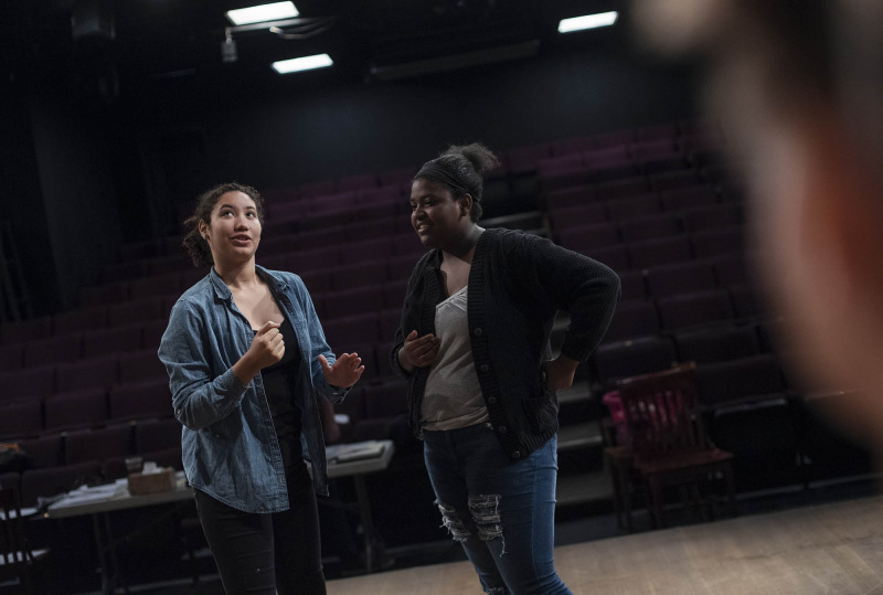 Students in the Summer Stage Young Actiing Company play theatre games and rehearse for their showcase at theREP Tuesday, July 30, 2019.